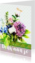 Sterktekaart met bos bloemen met stippen