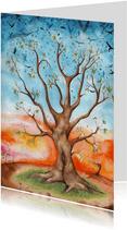 Sterktekaart met mooie geïllustreerde boom