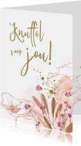 Sterktekaart met veldbloemen klaproos en waterverf