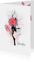 Sterktekaart pink bloem blad