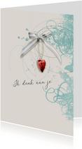 Sterktekaart rood hart met strik