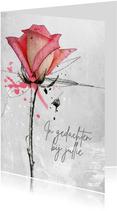 Sterktekaart roos roze gedachten