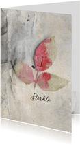 Sterktekaart roze blad op grijs