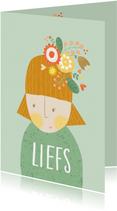Sterktekaart vrouw bloemen mint