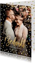 Stijlvol bedankkaartje huwelijk met eigen foto en confetti