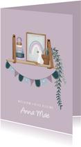 Stijlvol felicitatiekaartje met wandplankje geboorte baby