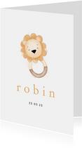 Stijlvol geboortekaartje met leeuwtje bijtring