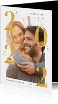 Stijlvol gouden 2022 en grote foto nieuwjaarskaart