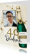 Stijlvol moderne verjaardagskaart met champagne thema