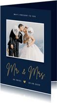 Stijlvolle bedankkaart trouwdag Mr & Mrs met eigen foto