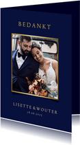 Stijlvolle blauwe bedankkaart trouwen met eigen foto en goud