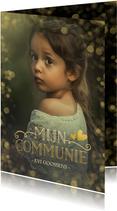 Stijlvolle communie uitnodigingskaart met gouden accenten