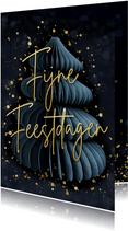 Stijlvolle donkerblauwe kerstkaart met kerstboom en goud