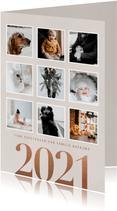 Stijlvolle foto kerstkaart fotocollage en 2021 op beige