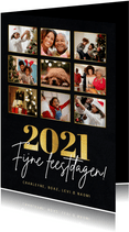 Stijlvolle fotocollage kertskaart met foto's en gouden 2021