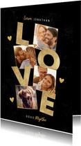 Stijlvolle fotocollage liefdekaart met gouden LOVE & hartjes