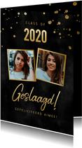 Stijlvolle geslaagd kaart met foto's gouden spetters & zwart