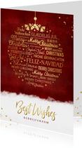 Stijlvolle internationale meertalige kerstbal kerstkaart