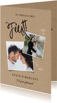 Stijlvolle jubileumkaart met foto's en Feest!