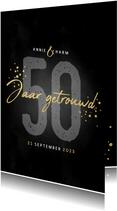 Stijlvolle jubileumkaart uitnodiging 50 jaar getrouwd zwart