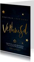Stijlvolle kerst verhuiskaart met goudlook tekst  en sterren
