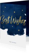 Stijlvolle kerstkaart best wishes blauw met goudlook sterren