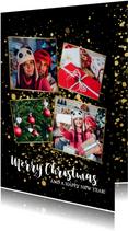 Stijlvolle kerstkaart fotocollage met gouden confetti