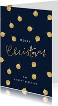 Stijlvolle kerstkaart gouden kerstballen