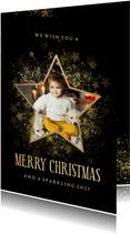 Stijlvolle kerstkaart gouden ster met foto