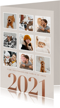 Stijlvolle kerstkaart groot jaartal 2021 en fotocollage