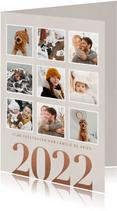 Stijlvolle kerstkaart groot jaartal 2022 en fotocollage