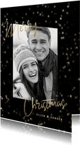 Stijlvolle kerstkaart grote foto, sterren en Merry Christmas