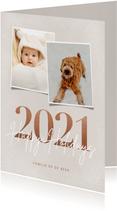 Stijlvolle kerstkaart jaartal 2021 foto's happy holidays