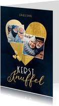 Stijlvolle kerstkaart kerstknuffel gouden hart foto's blauw