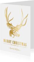 Stijlvolle kerstkaart met een gouden hert illustratie