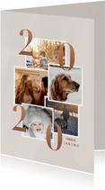 Stijlvolle kerstkaart met fotocollage en 2020