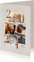 Stijlvolle kerstkaart met fotocollage en 2021