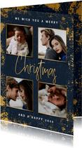 Stijlvolle kerstkaart met foto's, gouden kader en Christmas