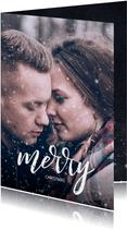 Stijlvolle kerstkaart met grote foto en wens