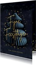 Stijlvolle kerstkaart met papieren kerstboom en goud