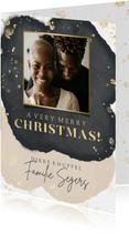 Stijlvolle kerstkaart met zwarte, beige waterverf en foto