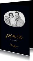 Stijlvolle kerstkaart peace foto donkerblauw