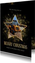 Stijlvolle kerstkaart zakelijk gouden ster met foto