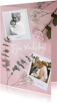 Stijlvolle moederdagkaart met polaroids, roos en eucalyptus