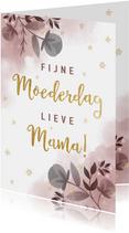 Stijlvolle moederdagkaart waterverf, bloemen en typografie