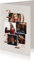 Stijlvolle nieuwjaarskaart 2022 fotocollage in rosegoud