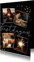 Stijlvolle nieuwjaarskaart 4 foto's en goudlook