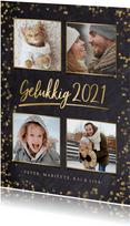 Stijlvolle nieuwjaarskaart fotocollage met 4 foto's en goud