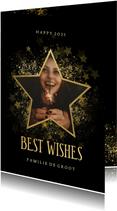 Stijlvolle nieuwjaarskaart gouden ster met foto