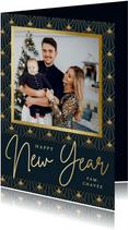 Stijlvolle nieuwjaarskaart in art-deco stijl met eigen foto